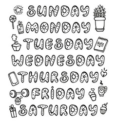 doodle weekdays and elements for bullet journal vector image
