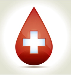 Drop of blood with cross vector image
