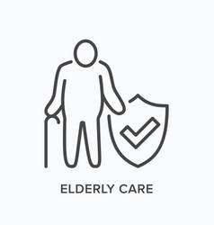 elderly citizen care line icon outline vector image