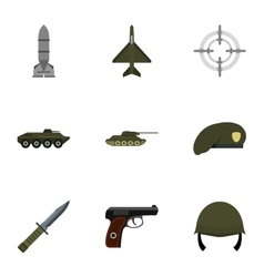 Equipment for war icons set flat style vector