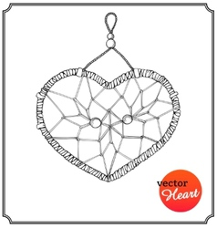 Ethnic dreamcatcher in form of heart vector image