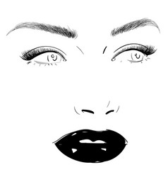Fashion woman face portrait drawing vector