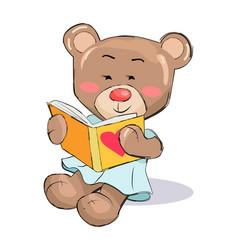 Female teddy-bear read book with heart sign vector