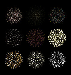 fireworks set new year celebration festive night vector image