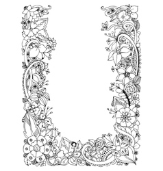 floral frame zentangle vector image