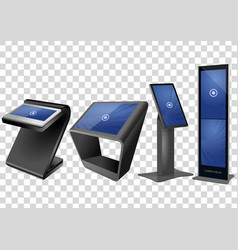Four promotional interactive information kiosk vector