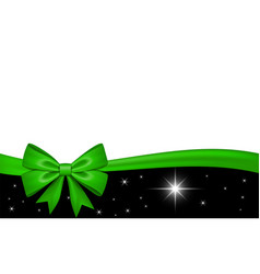 Gift card with green ribbon bow isolated on white vector