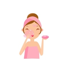 Girl Washing Face With Soap vector