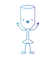 glass wine cartoon in degraded blue color contour vector image