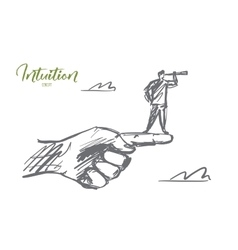 Hand drawn man standing on finger with spyglass vector image