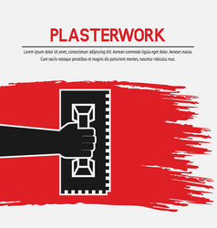 Hand with trowel plaster work design vector