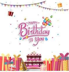 Happy birthday design with gift box ribbon vector