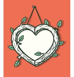 Heart wooden frame vector