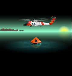 helicopter of rescuers left view vector image