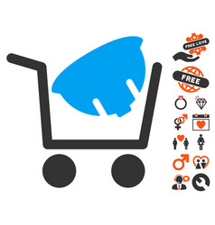 Helmet shopping icon with lovely bonus vector