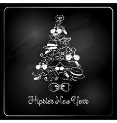 Hipster Christmas Tree on Chalkboard Background vector image