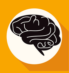 icon brain on white circle with a long shadow vector image