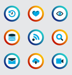 interface icons colored set with history arrow vector image