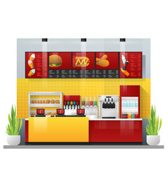 Interior scene of modern fast food restaurant vector