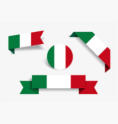 Italian flag stickers and labels vector