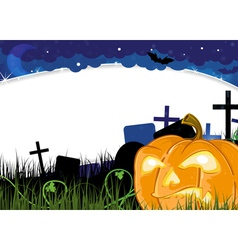 Jack o lantern on a cemetery vector