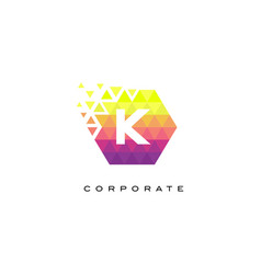 k colorful hexagonal letter logo design with vector image