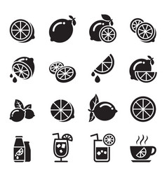 lemon icons vector image