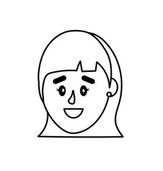 Line avatar woman head with hairstyle design vector