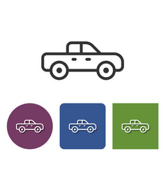 line icon of pickup truck icon in different vector image