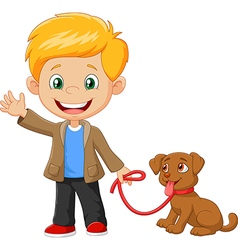 Little boy with his dog isolated vector image