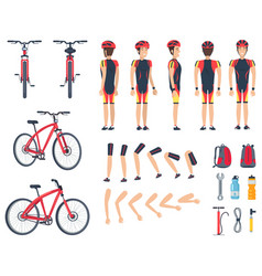 man in special sport clothes and modern bicycle vector image