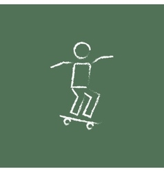 Man on skateboard icon drawn in chalk vector image