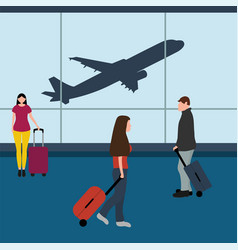 man with woman tourists travelers with a suitcase vector image