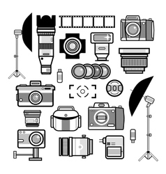 Monochrome photographer kit camera elements vector