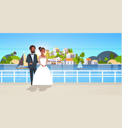 newlyweds african american couple standing vector image