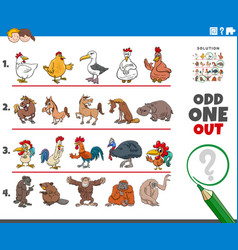 Odd one out picture game with animal characters vector