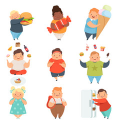 Overweight boys and girls set cute chubby vector