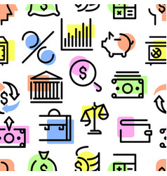 pattern set icons money bank investment vector image