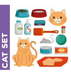 Pet shop cat set icons vector