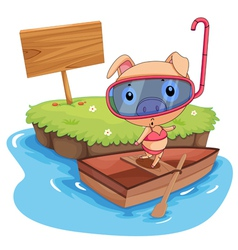 Pig and boat vector