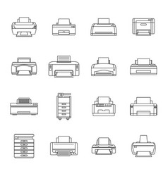 Printer office copy document icons set outline vector