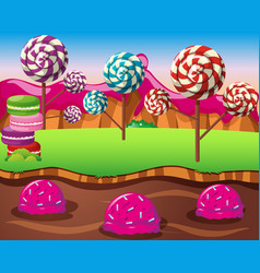 Scene with lolipops field and icecream river vector
