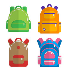 School backpacks set of flat colored backpack vector