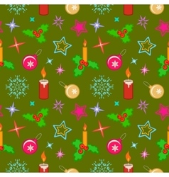 Seamless christmas pattern Colored holly berry vector image