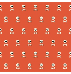 Seamless Halloween Skull Pattern with Bones over vector