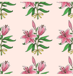 seamless pattern with hand drawn lily bouquet vector image