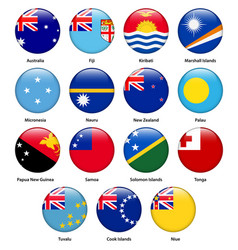 Set all flags countries oceania vector