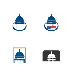 set of capitol dome building icon design vector image