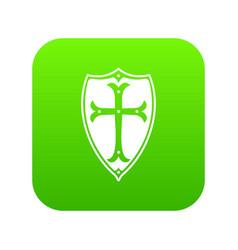 Shield icon digital green vector
