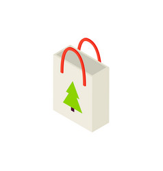 shopping bag christmas tree isometric object vector image